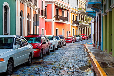 The old cobblestone streets of Old San Juan are barely wide enough for modern cars, Puerto RIco