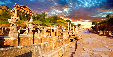 The Fountain of Emperor Trajan and Curetes Street constructed between 102, 114 A D Ephesus Archaeological Site, Anatolia, Turkey