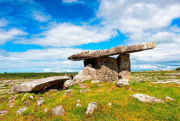 Poulnabrone dolmen in the Burren area of County Clare, Republic of Ireland