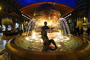 Earth Globe Fountain at Plaza de Espana, Valladolid, Castile and Leon, Spain