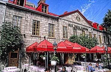Great outdoor cafe called Aux Vieux Canons Restaurant in Quebec City Quebec Canada