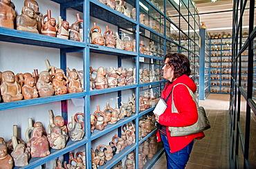 Larco Herrera museum Storage gallery of Pre-Columbian ceramic Lima Peru