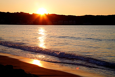 Sunset, Beach, Hendaye, Aquitaine, Pyrenees Atlantiques, France.