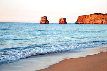 Les Jumeaux, Beach, Hendaye, Aquitaine, Pyrenees Atlantiques, France.