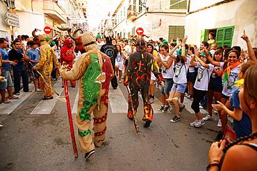 Dimonis, devils-, during the festival of Sant Joan degollat, Sant Joan, ??Mallorca Balearic Islands Spain