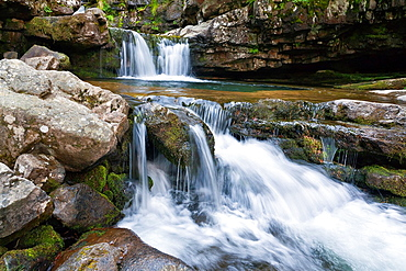 Waterfull in Puente Ra stream in Villoslada de Cameros Logrono La Rioja Spain