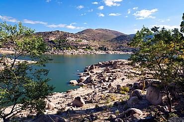 Dry season in the Burguillo reservoir avila Castilla Leon Spain