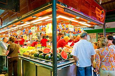 Fruit shop. La Paz market, Madrid, Spain.