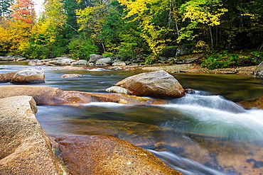 Just above the Lower Ammonoosuc Falls on the Ammonoosuc River in Carroll, New Hampshire, United States of America during autumn months