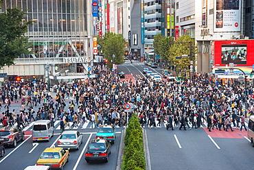 Aerial view of Shibuya Crossing Shibuya Tokyo Japan