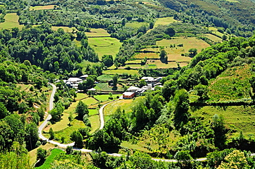Village and landscape in Romeor, Folgoso do Courel, Galicia, Spain