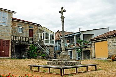 Stone Cross in San Clodio village Leiro, Ourense, Galicia, Spain