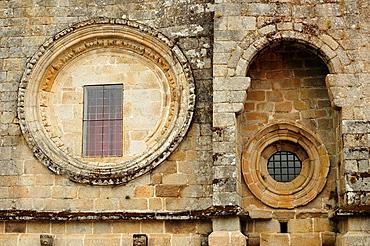 Main facade of the Santa Maria de San Clodio church Leiro, Ourense, Galicia, Spain