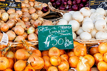 A variety of onions for sale in the market at Chartres, Loire, France