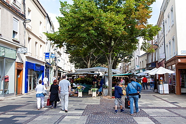 People and market day in Chartres, Loire, France