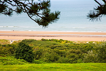 Omaha beach as viewed from the Normandy American Cemetery at Colleville-sur-Mer, Normandy, France