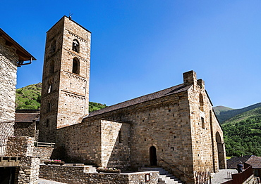 Romanesque church La Nativitat de Durro in Vall de Boi, Catalonia, Spain Rocognized as UNESCO world heritage site