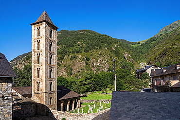 Santa Eulalia church in Erill la Vall in Vall de Boi, Catalonia, Spain. Recognized as UNESCO world heritage site.