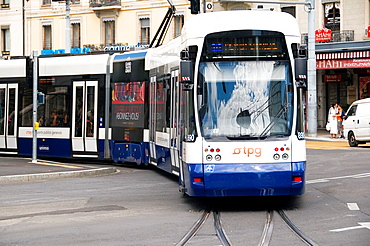 Tpg, Transports Publics Genevois Tram, Center Of Geneva, Switzerland
