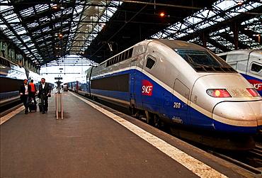 Tgv Bullet Fast Train In Gare De Lyon, Main Railway Station In Paris, France