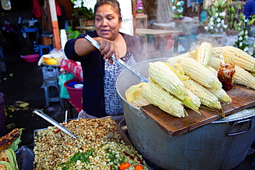 Steamed Larged Whole Corn on the Cob and Esquites bottom left at Jamaica Market in Colonia Jamaica in Venustiano Carranza borough of Mexico City