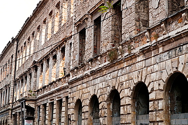 Building destroyed in the war 20 years on, Mostar, Bosnia and Herzegovina