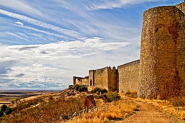Castle wall of Uruena, Castile and Leon, Spain