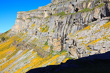 Cliffs and walls in Ordesa valley in summer Ordesa and Monte Perdido National Park Pyrenees Huesca Aragon Spain