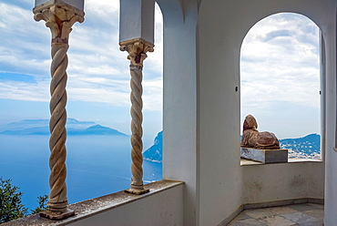 Sphinx with oceanview at Villa San Michele, Isle of Capri, Capri, Province of Naples, Campania, Italy, Europe