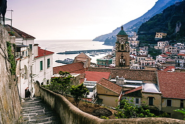Panoramic view of Amalfi with the belltower of Cattedrale di Sant¥Andrea from a high angle View from a walking path from Ravello to Amafi