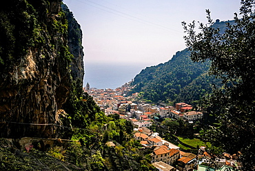 Panoramic view of Amalfi from a high angle