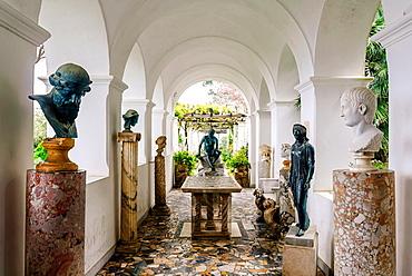 Loggia with antique roman sculptures in Villa San Michele, Isle of Capri, Capri, Province of Naples, Campania, Italy, Europe