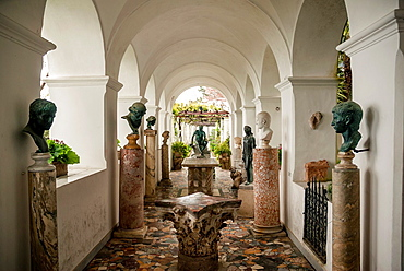 Loggia with antique roman sculptures in Villa San Michele, Isle of Capri, Capri, Province of Naples, Campania, Italy, Europe