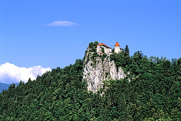 Slovenia Lake Bled Famous Castle in resort town of Bled Slovenia
