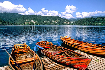 Slovenia Lake Bled Famous Castle and boats in resort town of Bled Slovenia