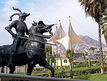 Peru Lima city Statue of Francisco Pizarro 1478-1541 conqueror of Peru