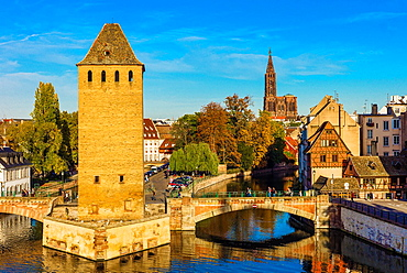 Ponts Couverts bridge and cathedral Strasbourg Alsace France