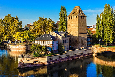 Houses and Ponts Couverts bridge tower Strasbourg Alsace France
