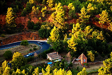 Road in Roussillon, Vaucluse, Provence, France
