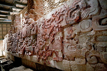 Frieze at Archeological site Balamku, Yucatan Peninsula, Campeche, Mexico