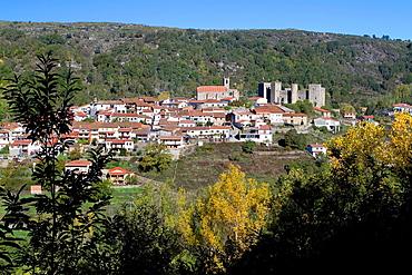 Overview of Montemayor del Rio, a small village declarated Historical-Artistic Site in Sierra de Bejar, Salamanca province Castilla y Leon Spain