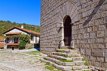 Church of Montemayor del Rio, a small village declarated Historical-Artistic Site in Sierra de Bejar, Salamanca province Castilla y Leon Spain