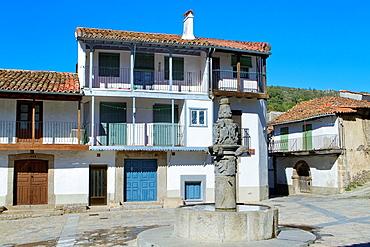 Typical and traditional houses of Montemayor del Rio, a small village declarated Historical-Artistic Site in Sierra de Bejar, Salamanca province Castilla y Leon Spain