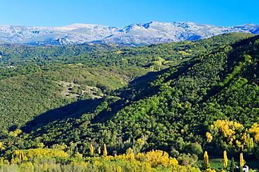 Sierra de Bejar and landscape near Montemayor del Rio, Salamanca province Castilla y Leon Spain