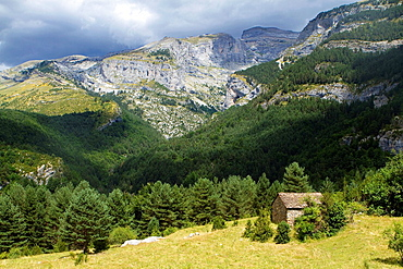 Canyon of Escuain Valley, belonging to Ordesa y Monte Perdido National Park Pyrenees Escuain village Puertolas Escalona Huesca province Aragon Spain