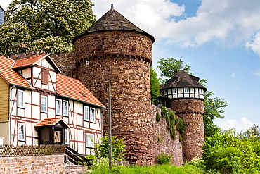 The picturesque Trendelburg Rapunzels castle on the German Fairy Tale Route, Trendelburg, Hesse, Germany, Europe