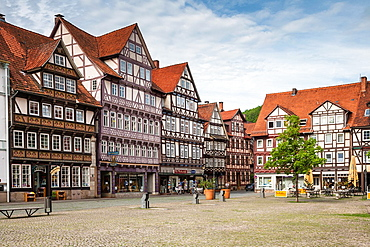 Timbered houses on the market square in Hannoversch Muenden on the German Fairy Tale Route, Lower Saxony, Germany, Europe