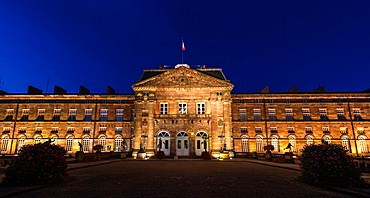 The picturesque Rohan Castle Chateau des Rohan at night in Saverne, Alsace, France, Europe