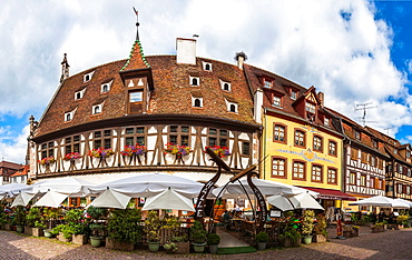 Charming timbered houses in the village of Obernai, Alsace, France, Europe