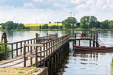 Wooden pier at the river Schlei, Sieseby, Schleswig-Holstein, Germany, Europe